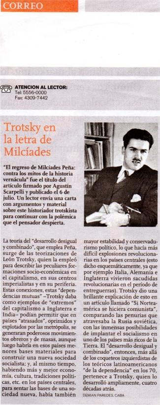 Trotsky en la letra de Milcíades (carta publicada en revista Ñ)